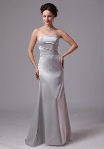 Pretty Sliver Satin Strapless Wedding Guest Dress with Brush Train