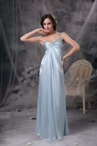 Light Blue One Shoulder Wedding Guest Dresses in Elastic Woven Satin