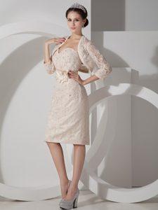 Sweetheart Mini-length Cute Wedding Guest Dress in Champagne
