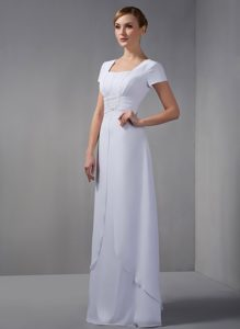 Lovely White Square Long Wedding Guest Dress