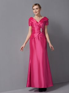 Hot Pink V-neck Custom Made Wedding Guest Dresses in