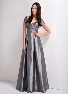 Grey A-line formal Wedding Guest Dress with V-neck for Wholesale Price