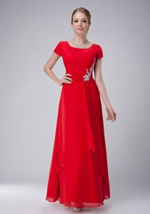 Red Empire Scoop Chiffon Wedding Guest Gown Dress in Ankle-length