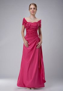 Pretty Hot Pink Wedding Guest Gowns with Off The Shoulder
