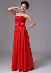 Bowknot Sweetheart Wedding Guest Gown Dress in Red on Promotion