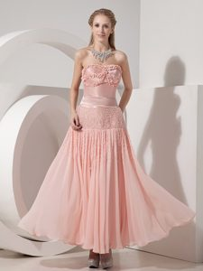 Custom Made Strapless Wedding Guest Dress in Light Pink for Summer