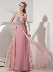 Pink One Shoulder Cheap Wedding Guest Dress in Floor-length