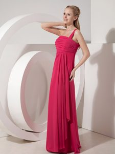 Elegant One Shoulder Chiffon Junior Wedding Guest Dress in Coral Red