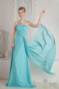 Aqua Blue Empire Strapless Nice Wedding Guest Dress with Brush Train