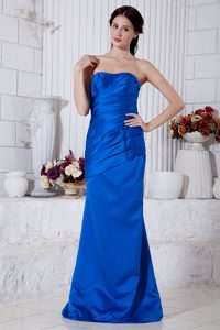 Beautiful Royal Blue Strapless Wedding Guest Dress in Taffeta