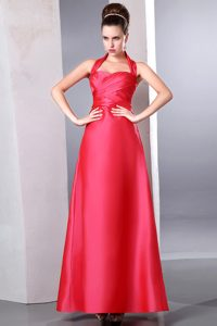 Low Price Coral Red Halter Top Dress for Prom in Ankle-length
