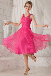 Hot Pink Empire Straps Organza Discount Wedding Guest Gown Dress