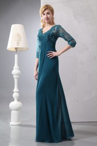 Lovely Turquoise V-neck Lace Wedding Guest Dresses