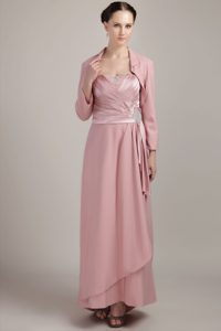Pink Wide Straps Long Senior Wedding Guest Dress on Promotion