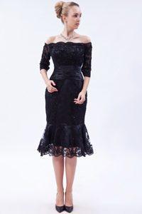 Off The Shoulder Tea-length Wedding Guest Dress in Navy Blue on Sale