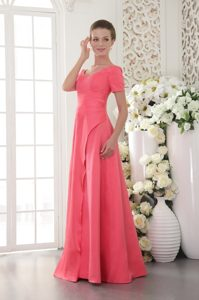 Coral Red Scoop Wedding Guest Dress for Cheap with Beading