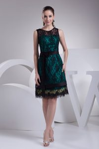 Nice Teal and Black Satin Wedding Guest Gown Dress with Sash