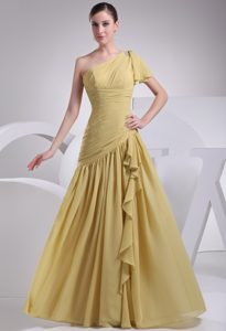 Yellow One Shoulder Asymmetric Ruched Pretty Wedding Guest Gowns