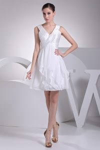 Princess V-neck White Beautiful Wedding Guest Dresses with Ruffles