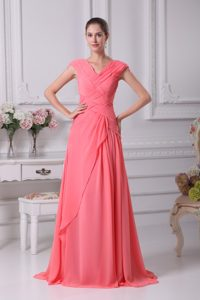 Watermelon Red Ruched V-neck Wedding Guest Dress with Cap Sleeves