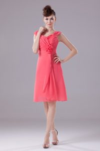Wide Straps Knee-length Discount Wedding Guest Dresses in Watermelon