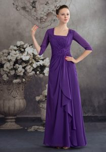 Purple Half Sleeves Square Sweet Wedding Guest Dresses with Beading