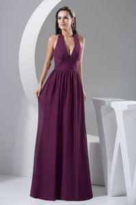 Halter Top Chiffon Long Discount Wedding Guest Attire in Purple