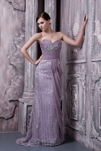 Sweetheart Beaded Wedding Guest Gown for Cheap in Lavender