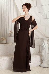Brown V-neck Wedding Guest Dress for Wholesale Price