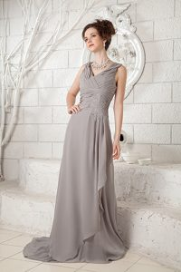 Cheap Gray Empire V-neck Chiffon Wedding Guest Dress with Brush Train