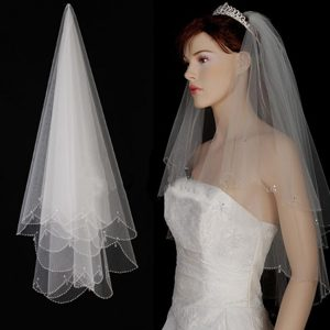 Two Layer Tulle With Pearls Fingertip Veil
