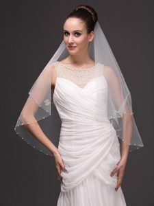 2 Layers Tulle With Pearls Fingertip Veil