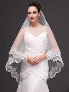 Two-tier Tulle With Lace Appliques Bridal Veil