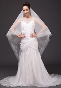 Beading Classic Tulle Bridal Veil For Wedding