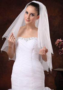 Beautiful Beading Tulle Bridal Veil For Wedding