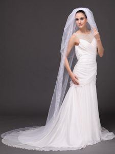 Three-tier and Embroidery Bridal Veils For Wedding