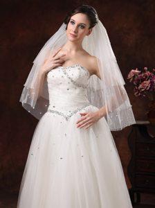 Gorgeous Pearl Trim Edge Tulle Bridal Veil