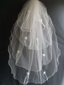 Hand Made Flowers And Beading Decorate Tulle Wedding Veil
