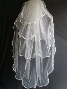 Four Layers Taffeta Ribbon Edge Tulle Wedding Veil