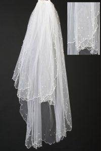 Organza Pearl Trim Edge Wedding / Bridal Veil