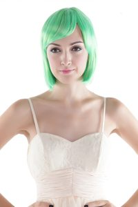 Short High Quality Synthetic Green Straight Cosplay Wig