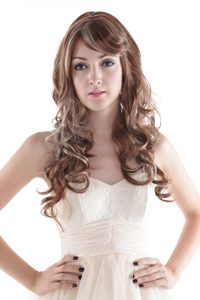 Extra Long High Quality Synthetic Elegant Mixed Color Curly Hair Wig