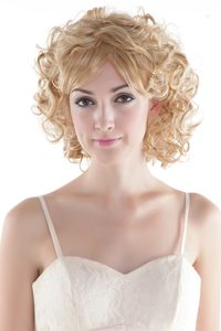 Cute Medium Curly Blonde High Quality Synthetic Hair Hair Wig
