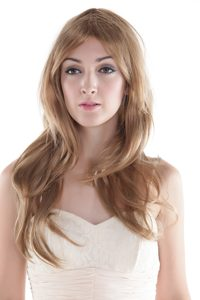 Long Blonde Human Hair Wig With Side Bang