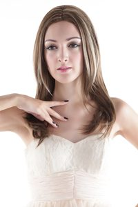Medium Long High Quality Synthetic Flaxen Straight Hair Wig