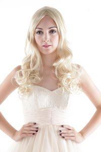 Medium Long Synthetic Blonde Wavy Hair Wig