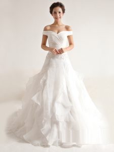 Off the Shoulder White Organza Zipper Wedding Dresses Sleeveless With Train Court Train Beading and Ruffles
