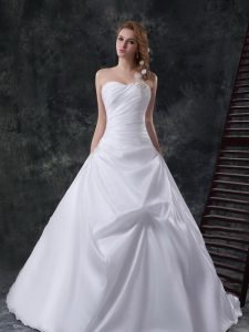Suitable Pick Ups Brush Train A-line Wedding Gowns White One Shoulder Taffeta Sleeveless With Train Lace Up