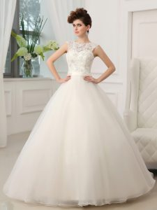 Attractive Scoop Sleeveless Beading and Appliques Zipper Wedding Dresses