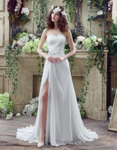 White A-line Chiffon Sweetheart Sleeveless Beading and Ruching Lace Up Wedding Gown Brush Train